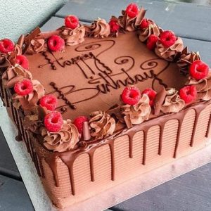 12″ Square Chocolate Drizzle Cake