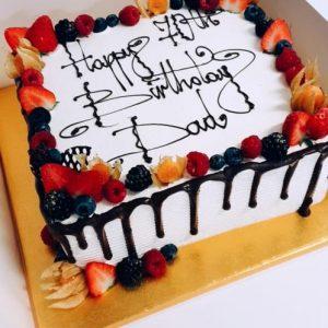 12″ Square Fresh Cream & Fresh Fruit Drizzle Cake