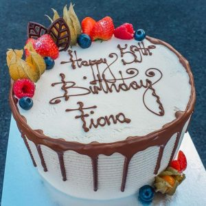 8″ Round Fresh Cream & Fresh Fruit Drizzle Cake