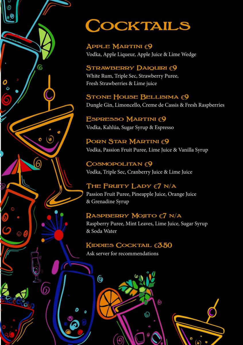 cocktail menu A5
