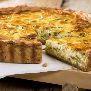 Goats Cheese, Caramelized Onion & Spinach Quiche